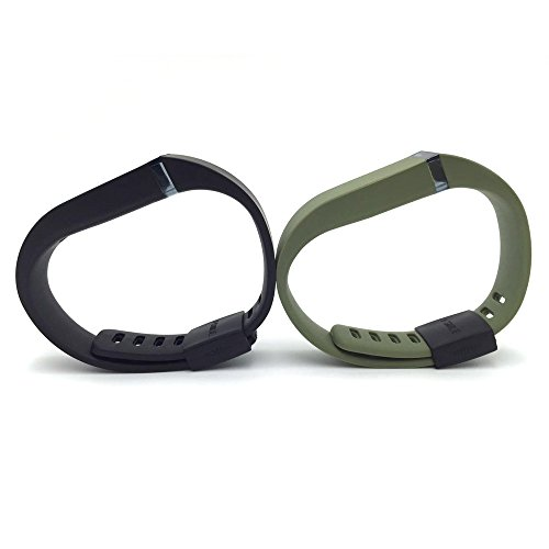 i-smile® 2pcs Replacement Bands with Metal Clasps for Fitbit Flex / Wireless Activity Bracelet Sport Wristband / Fitbit Flex Bracelet Sport Arm Band (No tracker, Replacement Bands Only) & Silicon Fastener Ring For Free - Provided by i-smile® (Black & Army Green, Large)