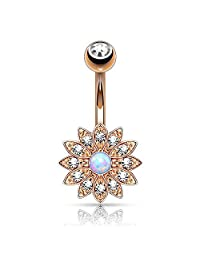 BodyJ4You Belly Button Ring Jeweled Flower