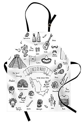 Miss Sweetheart Mexican Apron, Cinco de Mayo Calligraphy with Maya Pyramids Musical Instruments Cuisine Design, Funny Kitchen Aprons Men Women Kids High Waist Apron, Black White (Laminated Kids Apron)
