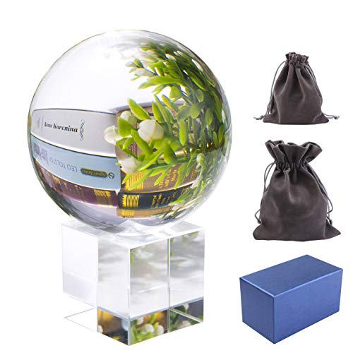(Pedobo Clear Crystal Ball 3.15 inch (80mm) K9 Crystal Suncatchers Ball with Crystal Stand Flannelette Bags and Gift Box for Photography)