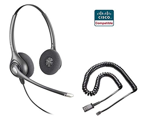 Plantronics HW261N Headset and Adapter Cable Bundle Cisco 6921 6941 6945 6961 7821 7841 7861 7931G 7940 7941 7942G 7945 7960 7961 7962G 7965G 7970 7971G 7975G 7985G 8811 8841 8851 8861 8865 8941 8945 ()