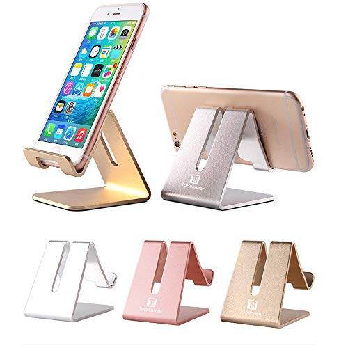 Desktop Cell Phone Stand Holder, ToBeoneer Aluminum Solid Portable Universal Desk Stand for All Mobile Smart Phone Tablet Display Huawei iPhone X 8 7 6 Plus 5 Ipad 2 3 4 Ipad Mini Samsung (Silver) (Accessories Mobile Phones)