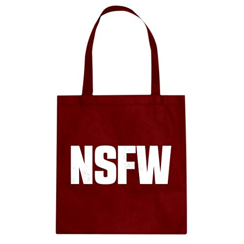 Tote Not Safe for Work Large Red Canvas Bag