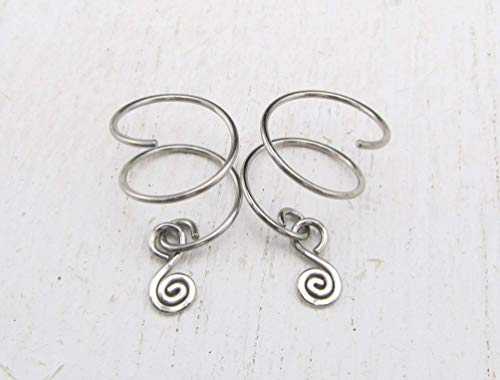 Double Piercing Earrings with Spiral Charm for Two Side by Side Ear Piercings in 316L Stainless Steel (Double Charm Hoop)