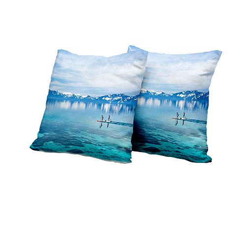 All of better futon Cushion Cover Lake,Paddle Boarding Lake Tahoe with Snowy Mountains in Distance Hobby Activity,Blue Turquoise White Decorative Pillow Covers 16x16 INCH 2pcs