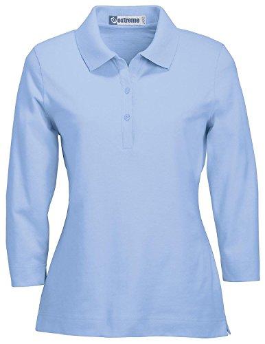 Ash City Women's 3/4 Sleeve Stretch Jersey Polo Large Powder Blue (Powder Blue Shirt)