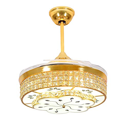 Stealth Crystal Ceiling Fan, Restaurant Mute Fan Light, European Style Variable Frequency Living Room Bedroom With Fan LED Pendant Light, Dimmable with Remote Control,42 inch ()