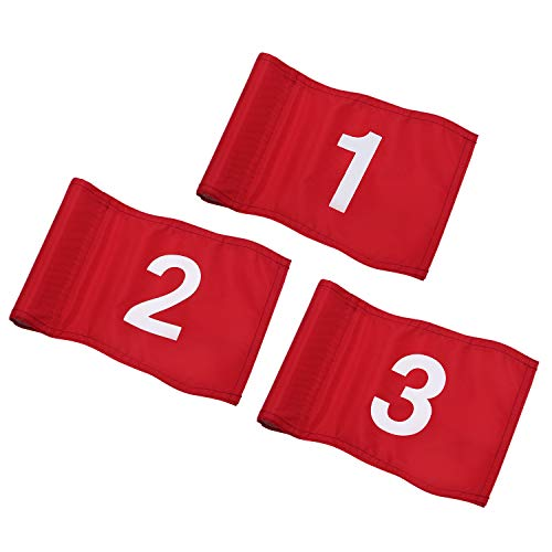 KINGTOP Numbered Golf Flag with Plastic Insert, Putting Green Flags for Yard, Indoor/Outdoor, Garden Pin Flags, 420D Premium Nylon Flag, White Flag#1,2, 3, 8