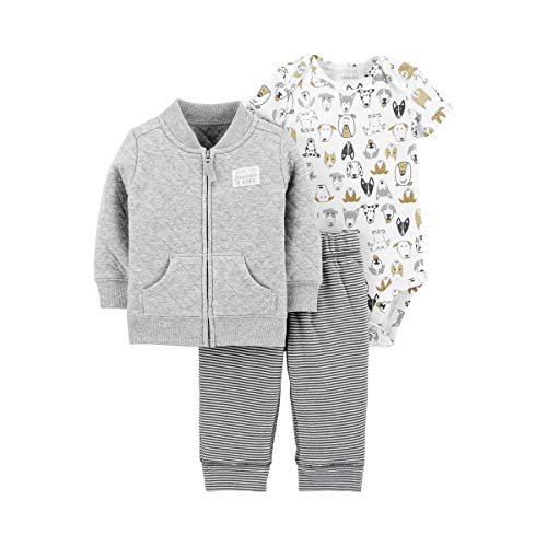 (Carter's Baby Boys' 3 Piece Cardigan Little Jacket Set (Gray Multi, 3 Months))