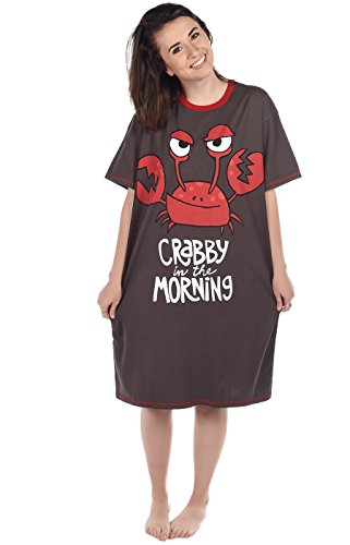 Crabby in The Morning Women's Animal Pajama Nightshirt by LazyOne | Warm Cabin Nightshirt (ONE (Mornings Nightshirt)