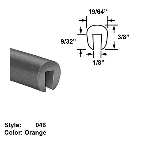 Silicone Rubber High-Temperature U-Channel Push-On Trim, Style 046 - Ht. 3/8'' x Wd. 19/64'' - Orange - 25 ft long by Gordon Glass Co.