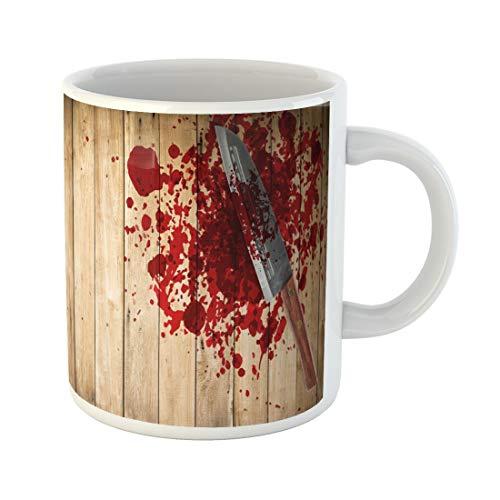 Semtomn Funny Coffee Mug Knife of Blood on Wood Floor Halloween Bloody Murder 11 Oz Ceramic Coffee Mugs Tea Cup Best Gift Or Souvenir
