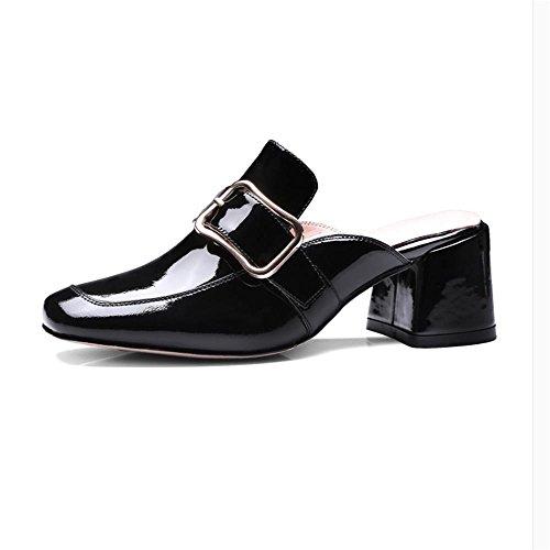 Heart&M de las mujeres hebilla cuadrada del color sólido de los deslizadores del dedo del pie cuadrado de tacón grueso de Patentes de cuero sandalias Black