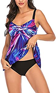 Effnny Women Gradient Firework Printed Top with Boyshorts Tankini Swimsuits Two Piece Bathing Suit
