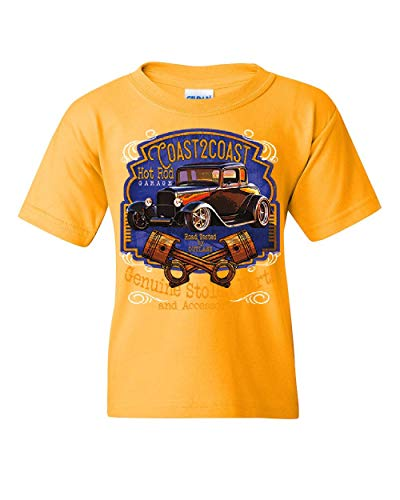(Coast 2 Coast Hot Rod Garage Youth T-Shirt American Outlaw Route 66 Kids Tee Yellow S)