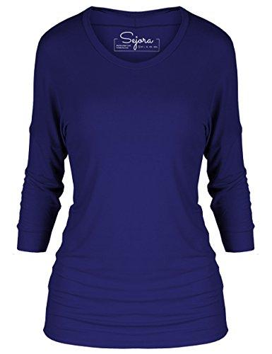 Three Quarter Sleeve Boatneck Top (Sejora 3/4 Long Sleeve Dolman Tunic Top Batwing Shirt – Many Colors & Sizes (X-Large, Navy))