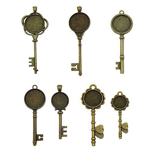 - 12 Pcs Assorted Antiqued Bronze Skeleton Key Setting Pendant Tray Bezel Blanks for Jewelry Making