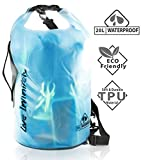 Live Infinitely 20L Waterproof Dry Bag Transparent TPU Which is Stronger, Softer & More ECO Friendly Than PVC –Reinforced Bottom, Carry Handle & Double Top Seal Keep Your Belongings Dry (Teal 20L)