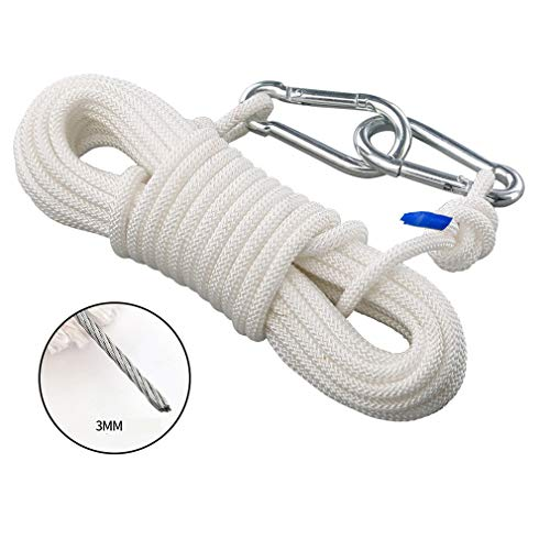 BAI-Fine Wire Rope 5m, 10m, 15m / Diameter 8mm Clothes Drying/Skipping Rope/Swing Hammock (Color : Diameter 8mm, Size : 15m)