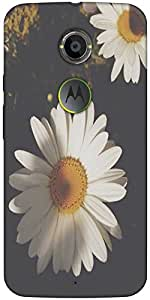 Snoogg White Sunflowers Designer Protective Back Case Cover For Moto X2