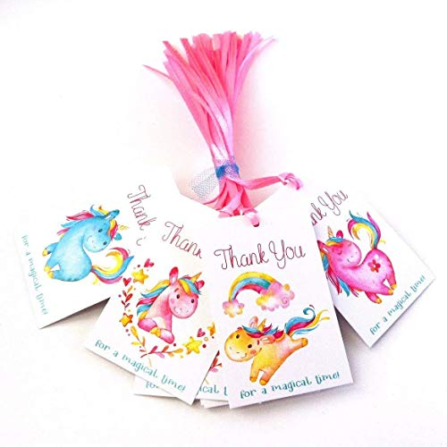 (Unicorn Thank You Favor Tags - Children Girl Birthday Baby Shower Party Gift Tags - Set of 24)