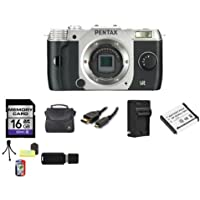 Pentax Q7 Compact Mirrorless Camera Body (Silver) 16GB Bundle 2