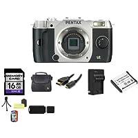 Pentax Q7 Compact Mirrorless Camera Body (Silver) 16GB Bundle 2