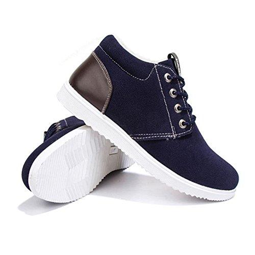 Marrone Sneakers 44 Foderato Moda Scarpe Grigio Laces 39 Piatto Esterno Inverno Pelliccia Scarpe Blu Scamosciata Caldo per Uomo da Stivaletti Blu xWH4Zqp