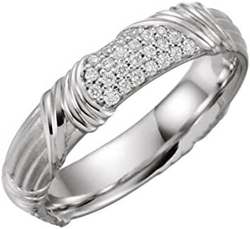 Platinum 1/4 CTW Diamond Sculptural-Inspired Band, Ring Size 7