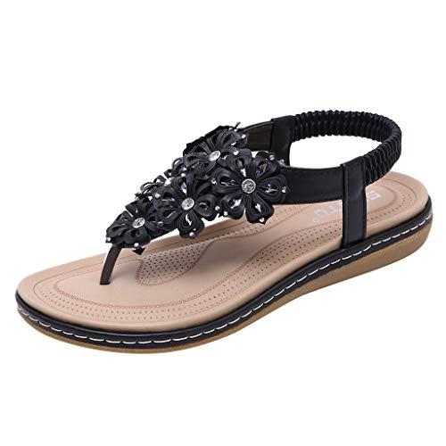 (HHei_K Sandals for Women's Summer Fashion Crystal Floral Casual Bohemia Flat Roma Shoes Sandals Shoes for Ladies Black)