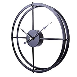 RuiyiF 24 Inch Silent Wall Clock Non Ticking Battery Operated, Oversize Farmhouse Rustic Metal Vintag Large Decorative Living Room Bedroom Office Kitchen (Black)