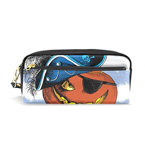 ColourLife Pen Pencil Case Halloween Pumpkin Pirate Leather Zipper Pouch Bag Makeup Cosmetic Bag Pencil Holder ()