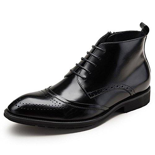 Herren Leder geschnitzt England Pack Wingtip Kleid Stiefel , black , 44