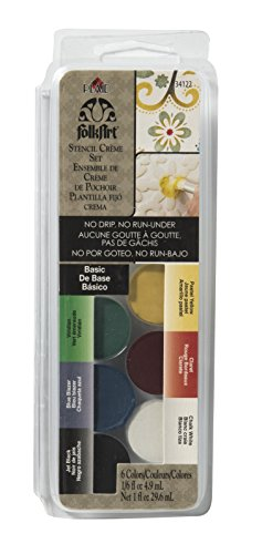 FolkArt Stencil Creme Set, 34122 Basic - Dry Brush Stencil Paint