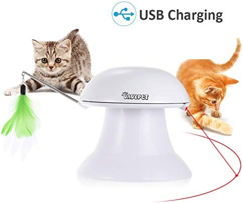 DADYPET Cat Laser Toy, 2 in 1 Automatic Non-Handheld Cat Chaser Toy and Interactive Feather Toy, Auto Rotating Light Cat Chaser Toy for Cats and Dogs 2