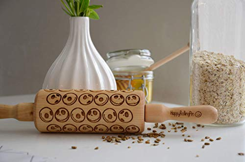Rolling Pin wooden with Jack Skellington Rolling Pin engraved for baking Beige colour Gift for Her Kitchen tools Wedding gift for couple Housewarming for new home present for Mom - By Enjoy The Wood by Enjoy The Wood