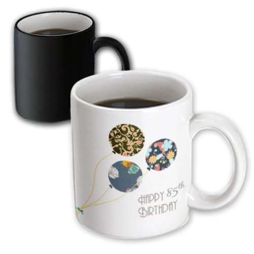 3dRose 3dRose Happy 85th Birthday - Modern stylish floral Balloons. Elegant black brown blue 85 year old Bday - Magic Transforming Mug, 11oz (mug_162026_3), , Black/White