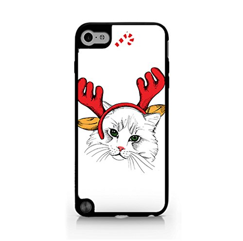 Christmas Iphone Case, Cool Christmas Gifts, Snowflake, Kitten Hard Plastic, Protective Black Case, Dust and Scratch Proof for iPod touch generation 5 ( itouch gen 5)