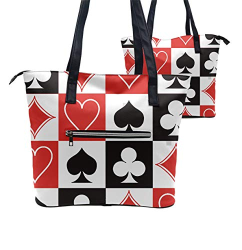 Daily Tote with Shoulder Length Handles and Outside Pocket (Grid Poker Playing - Attache Poker
