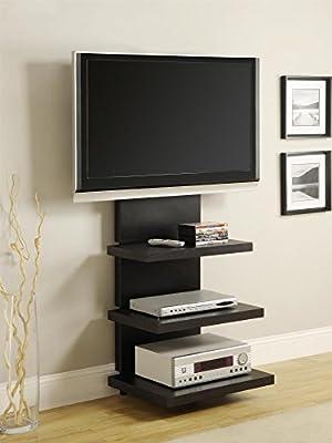 Amazon Com Ameriwood Home Elevation Tv Stand For Tvs 60 Wide Black Furniture Decor