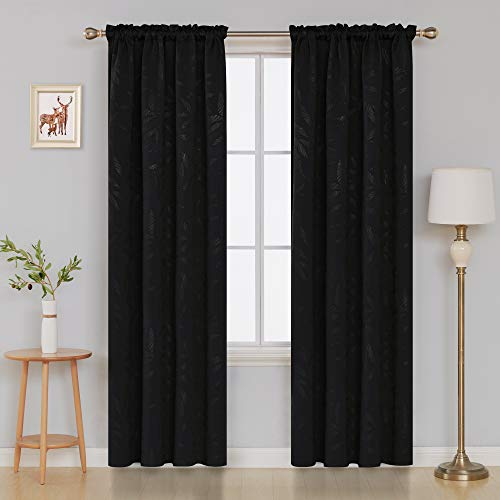 Deconovo Bamboo Leaf Pattern Blackout Curtains Thermal Insulated Rod Pocket Texture Embossed Curtains for Living Room 52W x 84L Inch Black 2 Panels