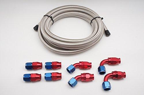 Autobahn88 DIY Hose Combo Set with: -3AN PTFE Teflon Hose with High Tensile Stainless Steel Braided (Single Layer) x10 Feet (3m) + Hose End -3AN (Straight x4 + 45Deg x2 + 90Deg x2)