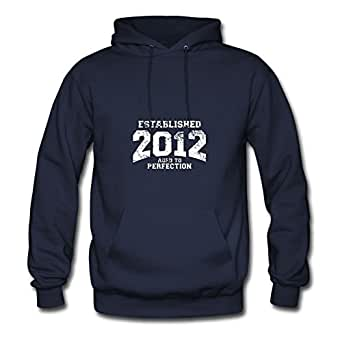 Women Hoodies Casual Established_2012 Printed X-large With Organic Cotton Navy