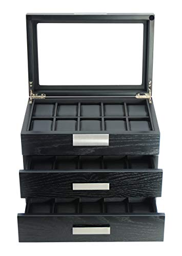 TimelyBuys 30 Ebony Wood Watch Box Display Case 3 Level Storage Jewelry Organizer with Glass Top, Stainless Steel Accents, and 2 Drawers ... (Watch Case Display Wall)