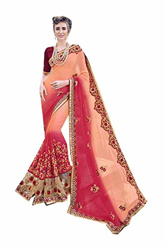 Designer Indian Traditional Party Sarees Wear Sari Facioun for Orange Da Wedding Pink Women 81Fwnqx