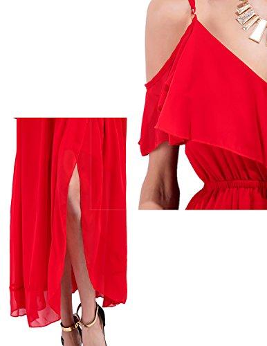 MODETREND Mujer Elegante Vestidos de Arnés V Cuello Shoulder off Vestidos Largos Para Fiesta Maxi Dress de Playa Rojo