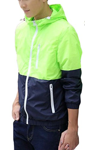 Packable Wading Jacket - Wofupowga Mens Zipper Light Weight Contrast Color UV-Protect Watertight Hooded Casual Jacket Green L