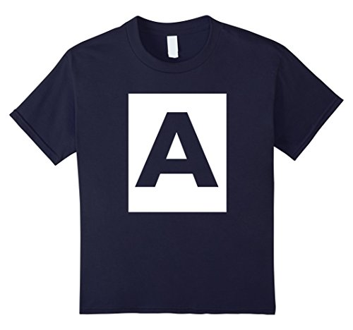 Kids Capital Letter A | Alphabet | Spell A Words Initial TShirt 8 Navy (Letter Capital)