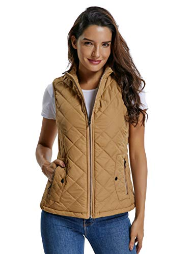 (MISS MOLY Women's Lightweight Quilted Zip Vest Stand Collar Gilet Padded Sleeveless Vest-Camel L)