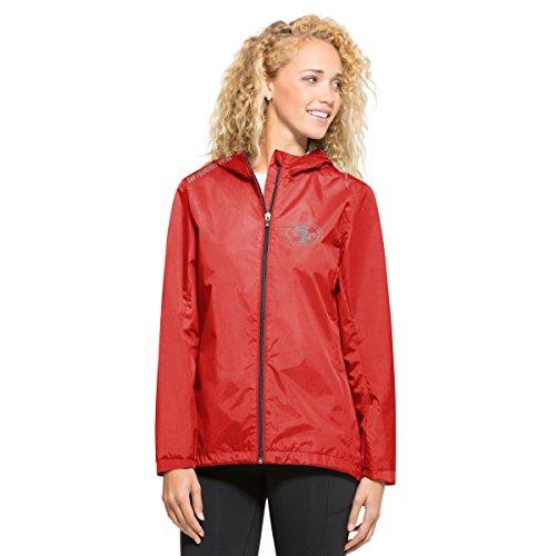 ('47 NFL San Francisco 49ers Women's React Full Zip Hooded Jacket, Medium, Rebound Red)